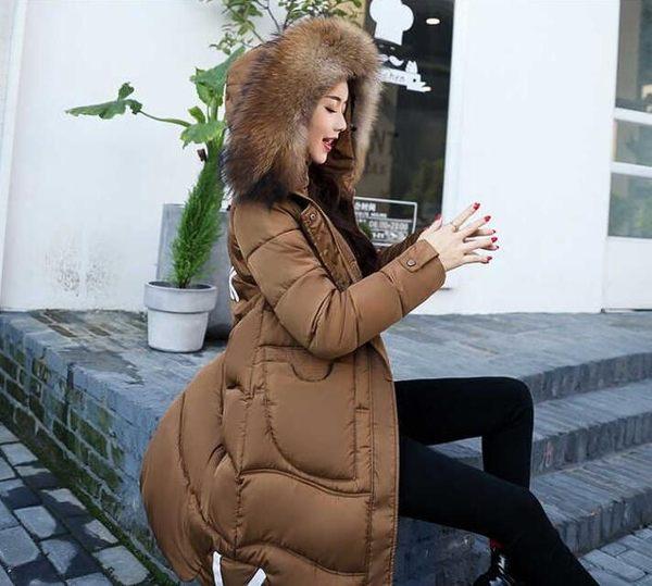 【現貨41】長版外套 大毛領羽絨服 韓版中大尺碼過膝棉服 防風外套 2XL~咖啡
