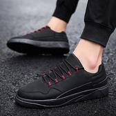 廚師鞋韓版休閒防滑防水防油冬天廚房加棉男鞋平底黑色工作小皮鞋-可卡衣櫃