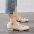 粗跟鞋 瑪麗珍鞋2021年春季新款百搭方頭晚晚鞋溫柔風低跟粗跟仙女單鞋女