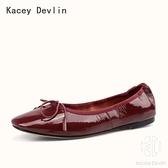 平底鞋 全真皮休閒舒適蛋卷單鞋 淺口軟底奶奶芭蕾船鞋【Kacey Devlin 】