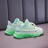 發光鞋-兒童6運動鞋7男童熒光綠中大童發光鞋夜光燈鞋12椰子鞋女童鞋15歲
