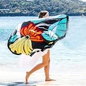 防曬披肩-流蘇鮮明自然時尚多用途戶外沙灘巾73mu35【時尚巴黎】