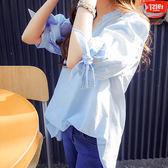 文藝條紋短袖襯衫女韓版百搭寬鬆v領學生套頭襯衣   瑪奇哈朵