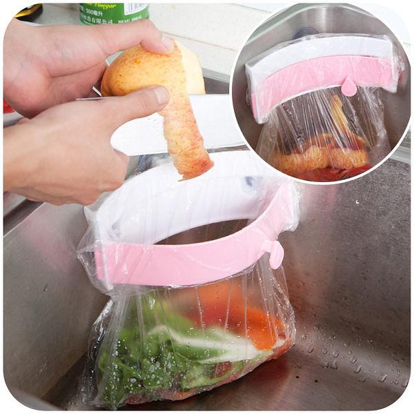 ◄ 生活家精品 ►【S038】水槽廚餘不進水便利架 居家廚房強力 三吸盤水槽垃圾袋架
