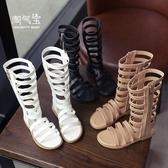 2019夏季新款鏤空女童羅馬涼鞋寶寶鞋高棒涼靴高筒兒童小公主韓版