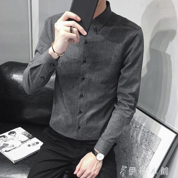 ins超火的襯衫男長袖韓版青年潮流休閒百搭帥氣男士襯衣 伊鞋本鋪