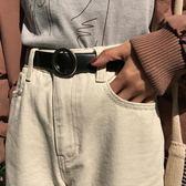 日單品 百搭調節針扣皮帶韓國簡約PU皮光面學生純色腰帶女   初語生活
