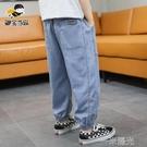 男童褲子牛仔防蚊褲夏季2021新款透氣中大童休閒褲薄款韓版潮童裝 一米陽光