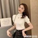2020秋季新款韓版洋氣半高領打底衫女ins修身顯瘦針織衫短袖上衣 浪漫西街