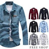 素色襯衫《Free Shop》【QJFK3412】日韓系基本款皮標口袋素色素面簡約牛津工作襯衫長袖襯衫‧七色