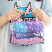 化妝包 洗漱包 透明便攜式萬用包 紫色 【金奇】