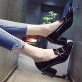 單鞋女高跟鞋新款百搭韓版春季女鞋子粗跟淺口英倫風小皮鞋潮 〖korea時尚記〗