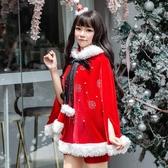 2019年新款韓版聖誕服披肩燙鉆裝女寬鬆大碼聖誕節演出衣服套裝冬 夢幻衣都