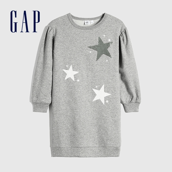 Gap女童 碳素軟磨系列 刷毛五角星洋裝 656238-淺麻灰
