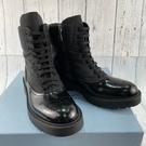 BRAND楓月 PRADA 黑色 皮革雕花 尼龍布 拼接 側邊拉鍊 9孔 厚底 軍靴 增高靴 女靴 #36