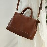 手提包-真皮-三層拉鍊牛皮復古女側背包2色74av23[時尚巴黎]