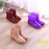 短筒廚房防滑水靴果凍雨鞋雨靴膠鞋套鞋防水鞋女成人低筒【輕奢時代】