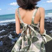 沙灘裙海邊度假2019新款小個子短裙高腰碎花雪紡洋裝吊帶裙女夏 「米蘭街頭」