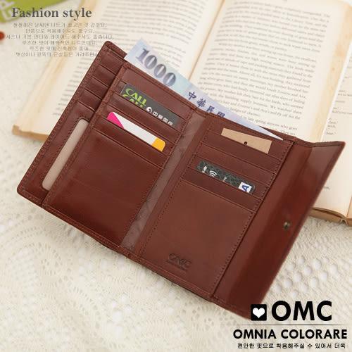 OMC - 時尚精工牛皮原皮三折式中夾