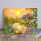 diy油畫數字油彩畫手繪裝飾畫客廳清新掛...