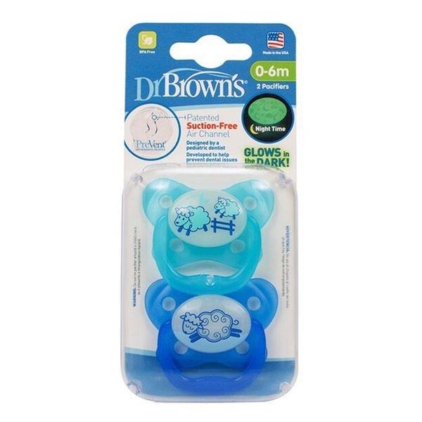 Dr. Brown美國製Pre Vent 功能性夜光安撫奶嘴2組4入((藍色))