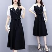 襯衫洋裝 2020夏季新款大碼女裝 洋氣顯瘦法式短袖連身裙中長款裙 TR971『寶貝兒童裝』