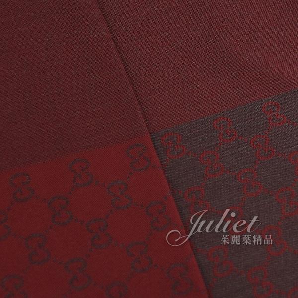 茱麗葉精品【全新現貨】GUCCI 344994 刺繡雙G緹花純羊毛圍巾/長披肩.暗紅灰