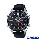 CASIO卡西歐 多層次賽車概念設計皮革雙顯男腕錶-黑x46mm EFV-C100L-1A