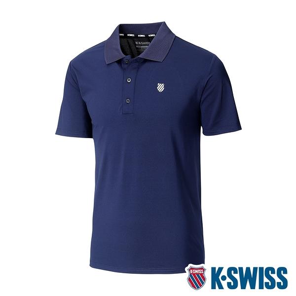 K-SWISS Mesh Panel Polo排汗Polo衫-男-藍