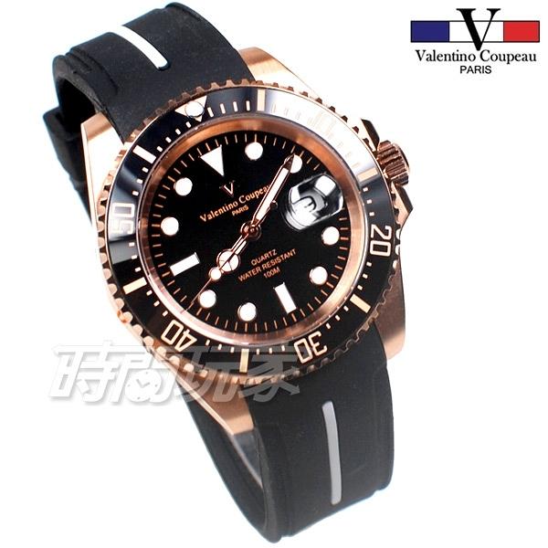 valentino coupeau 范倫鐵諾 夜光時刻 不鏽鋼 防水手錶 男錶 橡膠 潛水錶 水鬼 石英錶 V61589膠玫黑