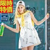 洋裝-無袖時尚休閒字母印花牛仔圓領連身裙2色67m2【巴黎精品】