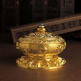 尼泊爾合金銅盤香爐檀香熏香爐八吉祥家用香薰爐室內佛具茶道擺件 卡布奇诺