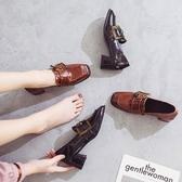 鞋子女百搭復古方頭網紅高跟小皮鞋韓版學生粗跟單鞋 安妮塔小舖