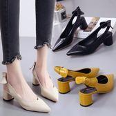 包頭涼鞋女鞋新款百搭韓版粗跟單鞋尖頭中跟職業OL高跟鞋 韓慕精品