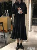 洋裝 女裝洋裝寬鬆中長款A字裙高腰黑色pp home裙子長裙 『極有家』