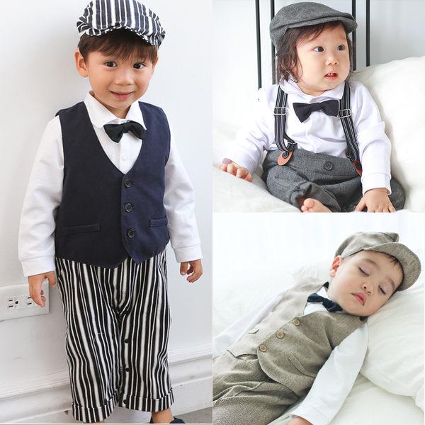長袖套裝 男寶寶 吊帶 假兩件 紳士背心連身衣 爬服 哈衣 小紳士 小花童 附帽子 3件套 60309