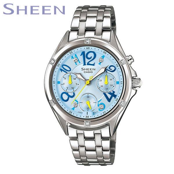 【名人鐘錶】CASIO SHEEN 花樣霓虹水藍三眼腕表・日期/星期顯示・SHE-3031D-2A・公司貨・少女時代代言