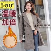 西裝外套--復古格紋排扣口袋寬鬆修身西服領夾棉毛呢大衣外套(卡其L-4L)-J270眼圈熊中大尺碼◎