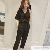雪紡短袖連身褲女時尚休閒洋氣九分褲2020夏韓版新款高腰顯瘦套裝  中秋特惠