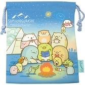 小禮堂 角落生物 棉質束口袋 (藍露營款) 4580433-09475