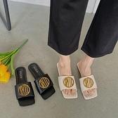 網紅涼拖鞋女外穿夏季新款時尚百搭方頭仙女風露趾一字涼拖女 - 風尚3C