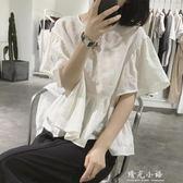 荷葉袖苧麻襯衫女士夏季套頭短袖寬鬆高腰短款褶皺減齡棉麻娃娃衫 晴光小語