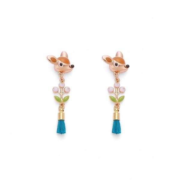 【正韓】P.Y 小鹿斑比小紫葡萄流蘇耳環 16K玫瑰金