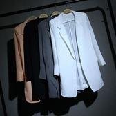 春夏中長款雪紡小西裝外套 女七分袖寬鬆顯瘦大碼 LR1287【歐爸生活館】