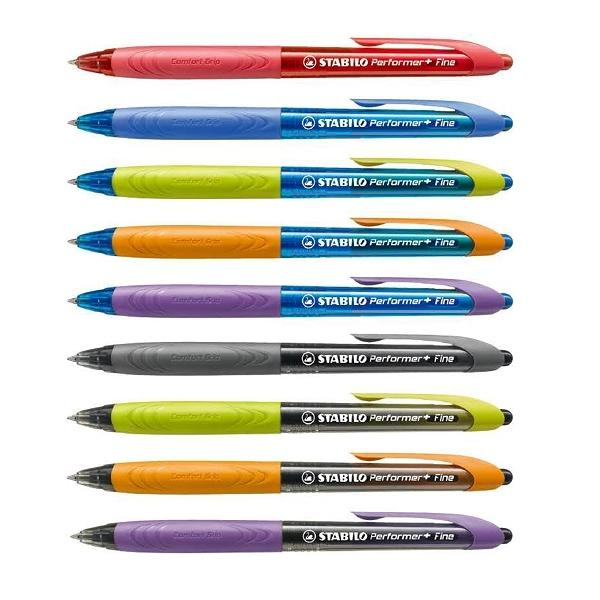STABILO 德國 思筆樂 Performer+ 傑出者原子筆 筆桿9色筆芯3色 10支入 / 盒 328