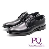 【南紡購物中心】PQ 正裝尖頭素面綁帶皮鞋 男鞋 - 黑