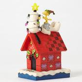 聖誕禮物《Enesco精品雕塑》SNOOPY聖誕節亮燈狗屋塑像-Merry And Bright(Peanuts by Jim Shore)_EN86165