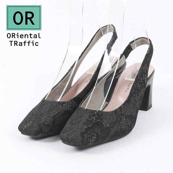 【ORiental TRaffic】都會方頭後勾帶中跟鞋 優雅黑