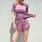 運動上衣 瑜伽健身服女速乾衣薄款顯瘦防走光短褲晨跑步運動套裝女夏-Ballet朵朵