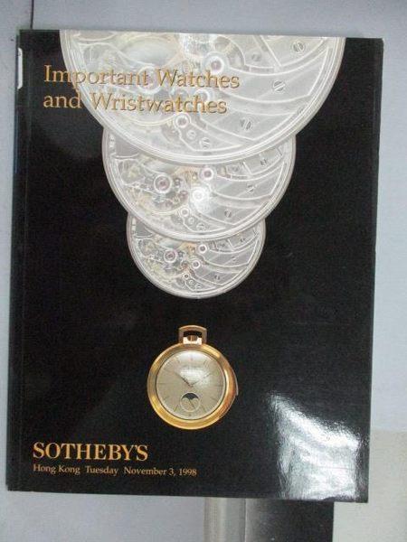 【書寶二手書T9/收藏_QAB】Sotheby s_Important Watches…_1998/11/3